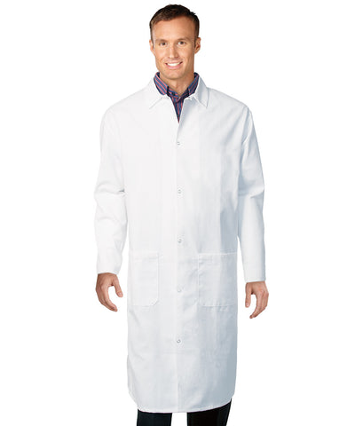 White UniWear® Polyester Butcher Coats Shown in UniFirst Uniform Rental Service Catalog