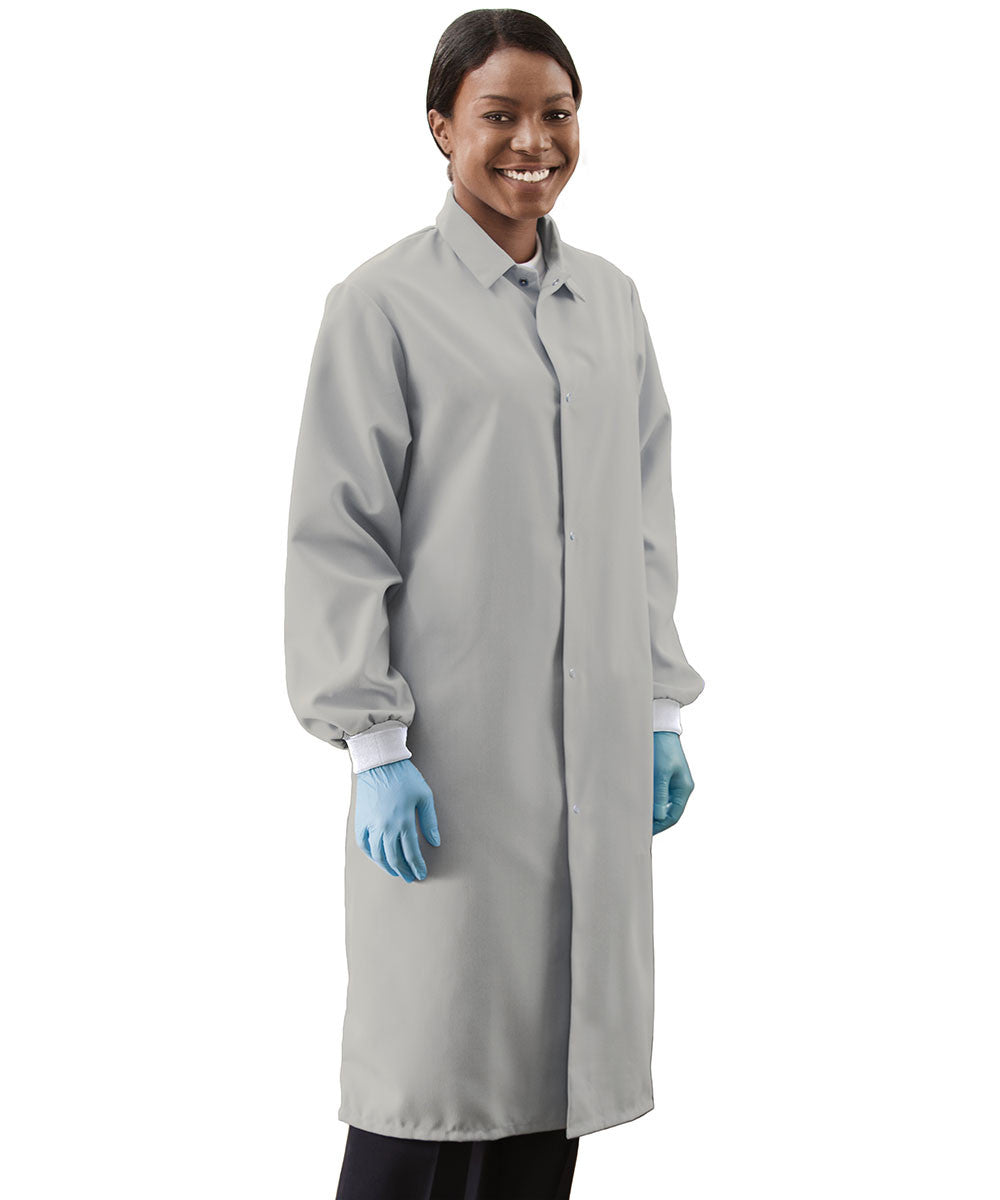 Grey UniWear® Food Processor Coats with Knit Cuffs Shown in UniFirst Uniform Rental Service Catalog