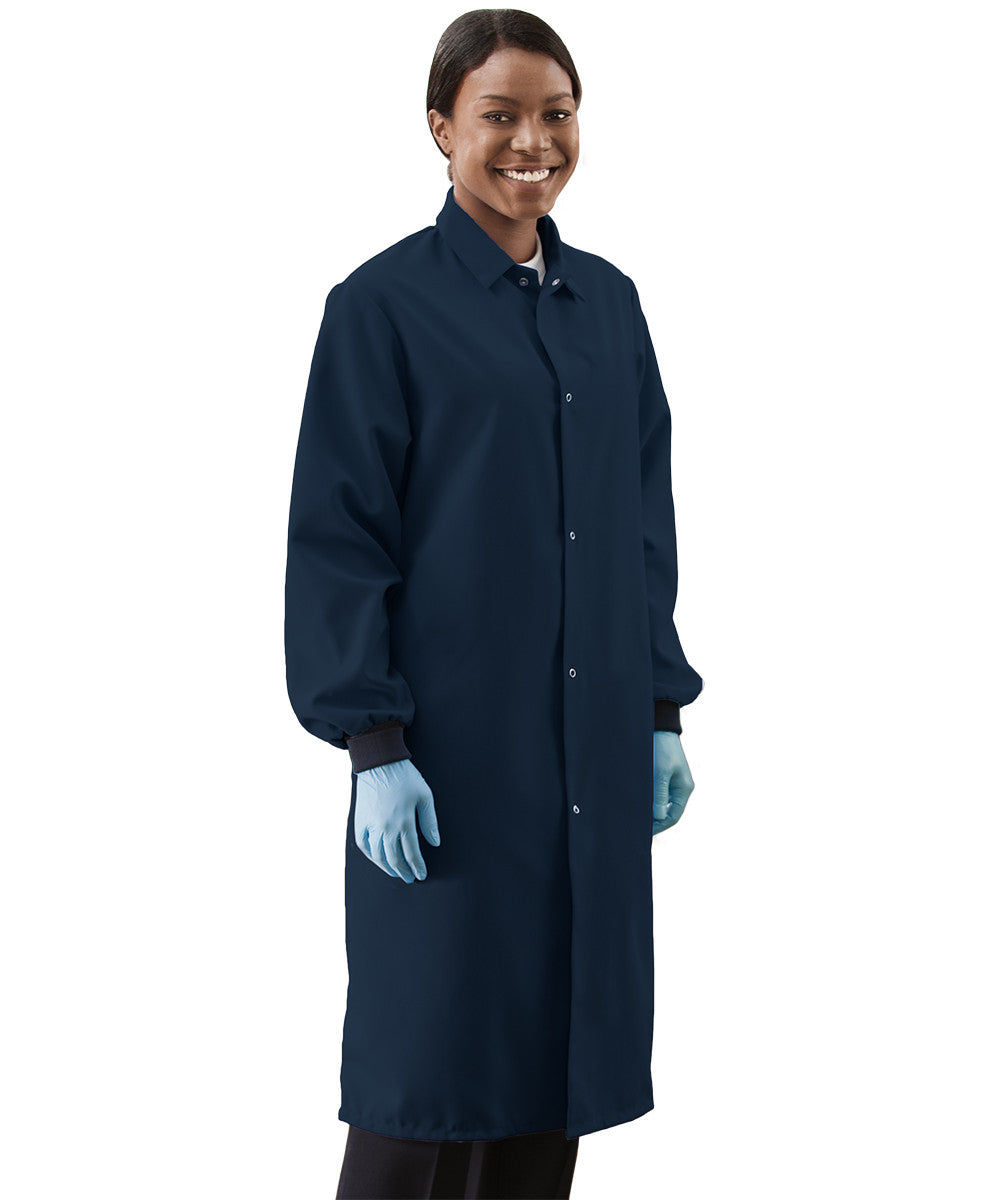 Navy Blue UniWear® Food Processor Coats with Knit Cuffs Shown in UniFirst Uniform Rental Service Catalog