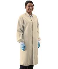 Tan UniWear® Food Processor Coats with Knit Cuffs Shown in UniFirst Uniform Rental Service Catalog