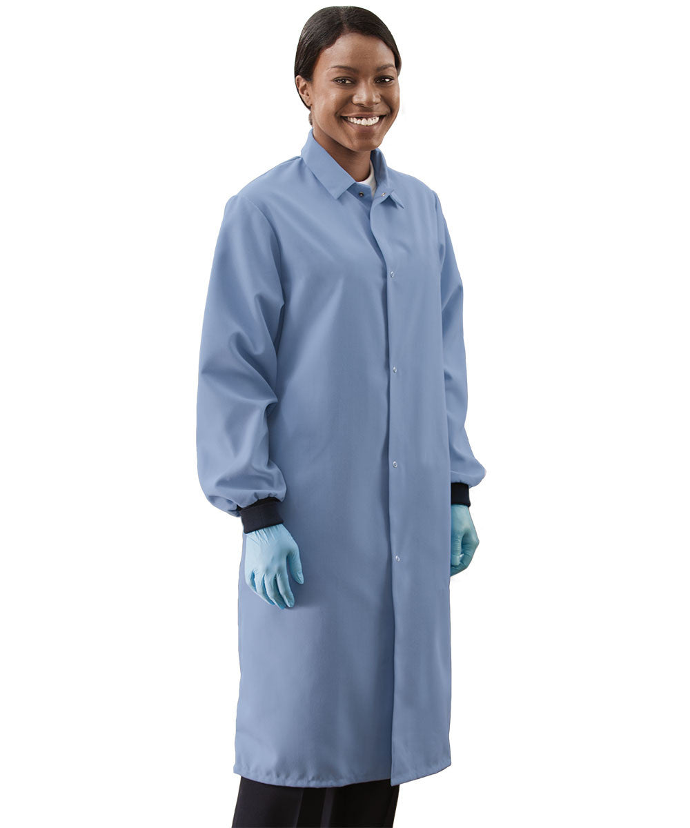 Light Blue UniWear® Food Processor Coats with Knit Cuffs Shown in UniFirst Uniform Rental Service Catalog