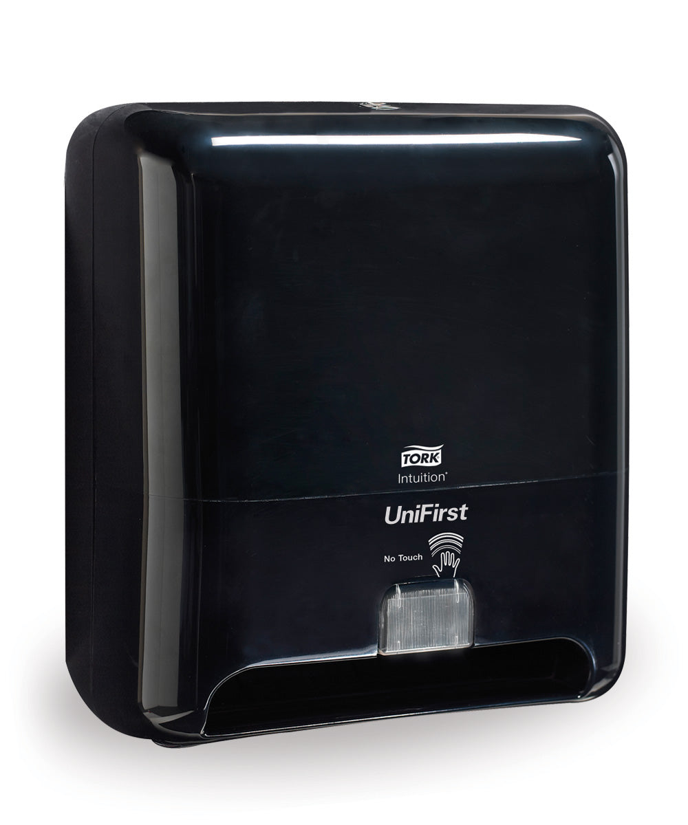 Tork Matic® Hand Towel Roll Dispenser with Intuition® Sensor (Touchless Electronic) in black as shown in the UniFirst Facility Services catalog.