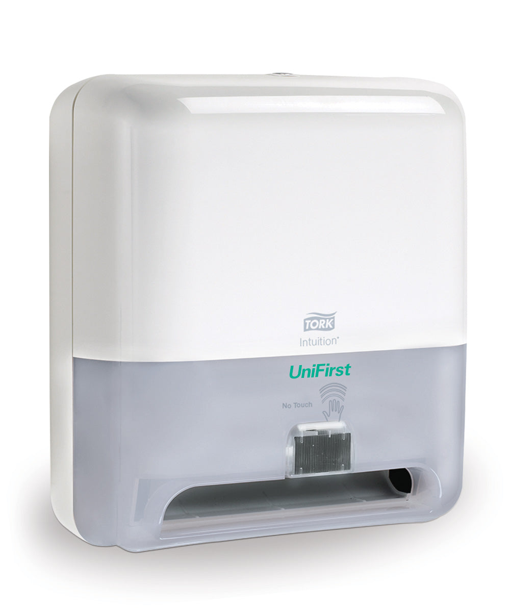 Tork Matic® Hand Towel Roll Dispenser with Intuition® Sensor (Touchless Electronic) in white as shown in the UniFirst Facility Services catalog.