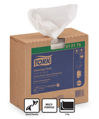 Tork® 510 Disposable Cleaning Cloths Pop-Up Box as shown in the UniFirst Facility Services catalog.