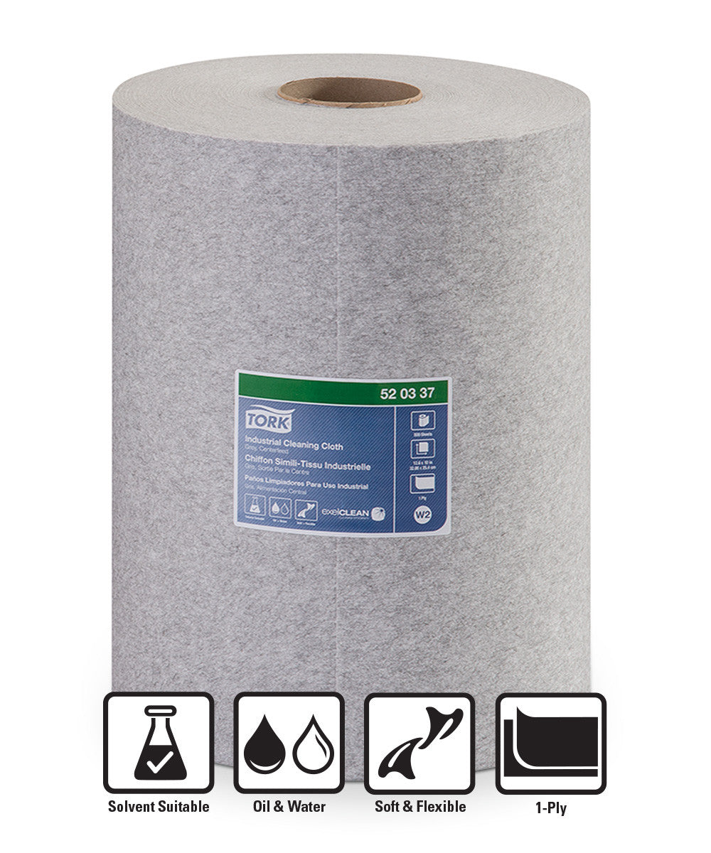 Tork® 520 Disposable Industrial Cleaning Cloths – Centerfeed Roll (Grey)