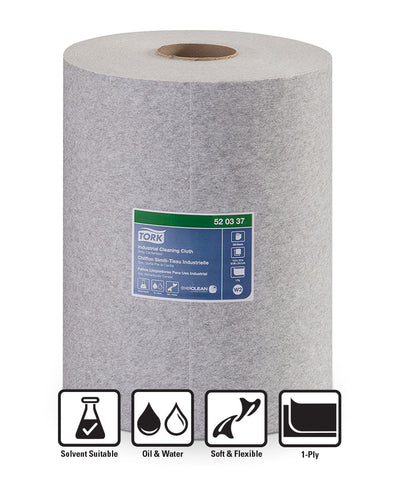 Tork® 520 Disposable Industrial Cleaning Cloths (Roll Grey)