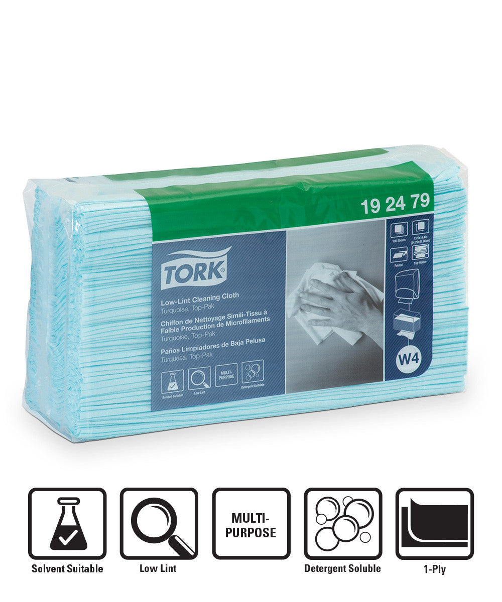 Tork Folded Low-Lint Cleaning Cloths – Pack (Turquoise)