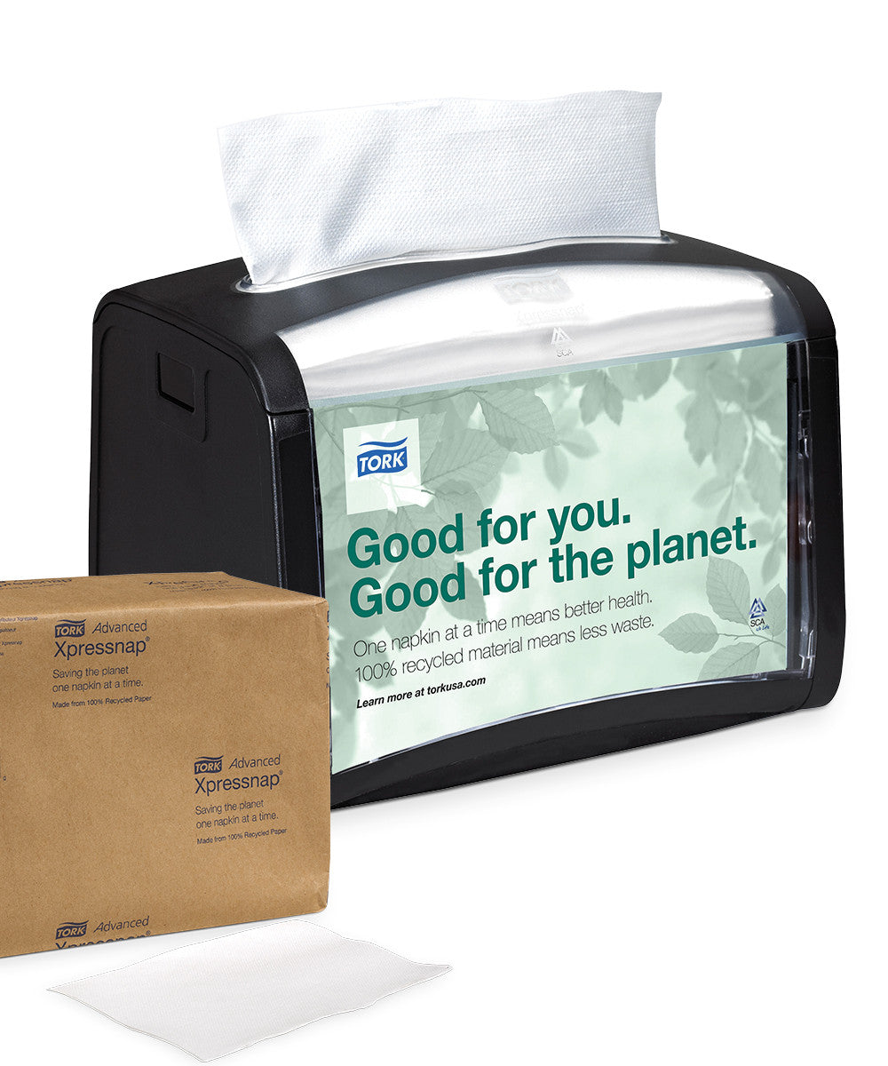Tork® Advanced Xpressnap Tabletop Napkin AD-a-Glance System as shown in UniFirst Facility Services catalog.