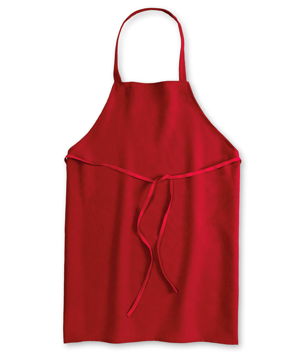 Red Unisex Knee Length Bib Aprons Shown in UniFirst Uniform Rental Service Catalog
