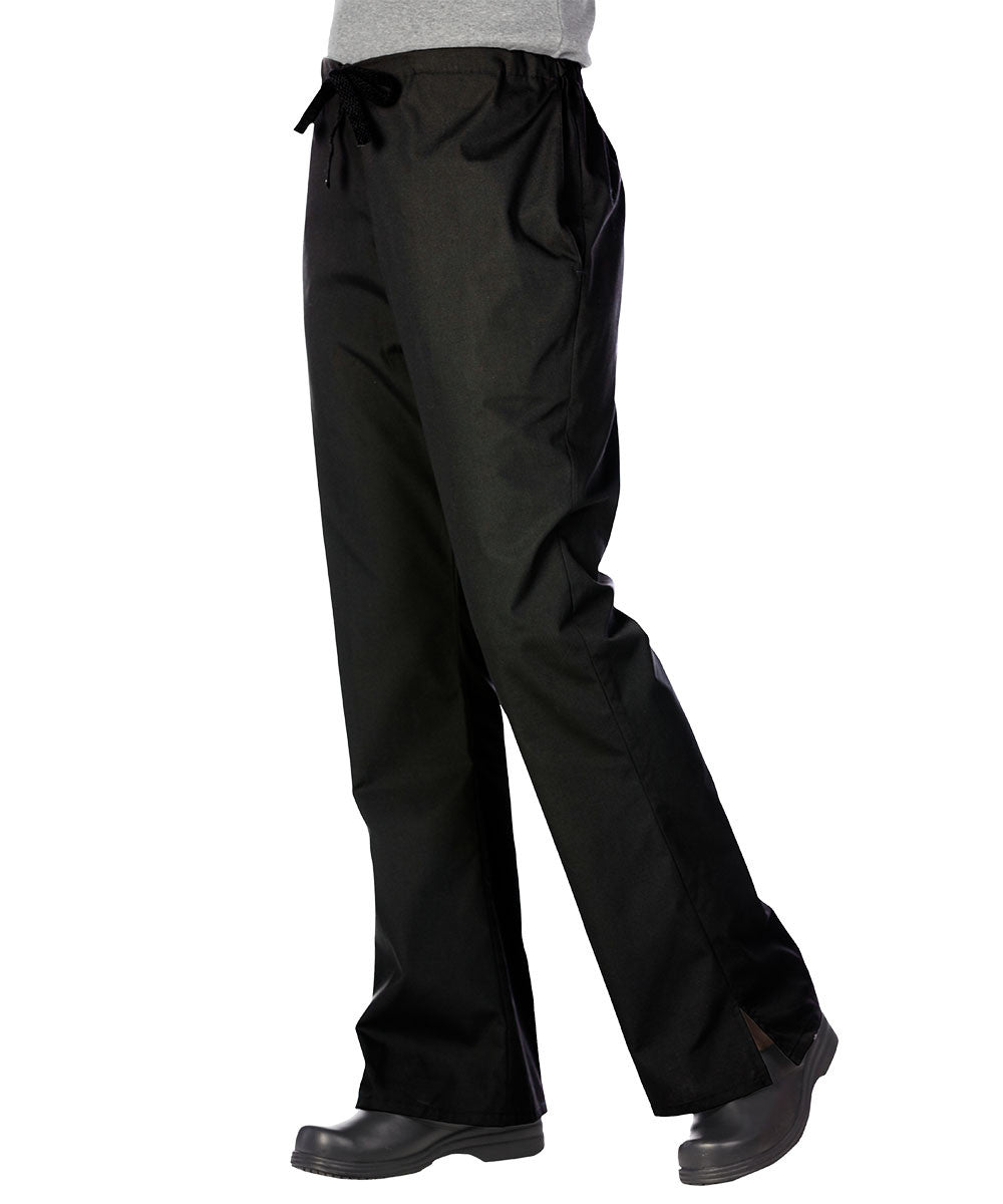 Black Women's Flair Scrub Pants Shown in UniFirst Uniform Rental Service Catalog