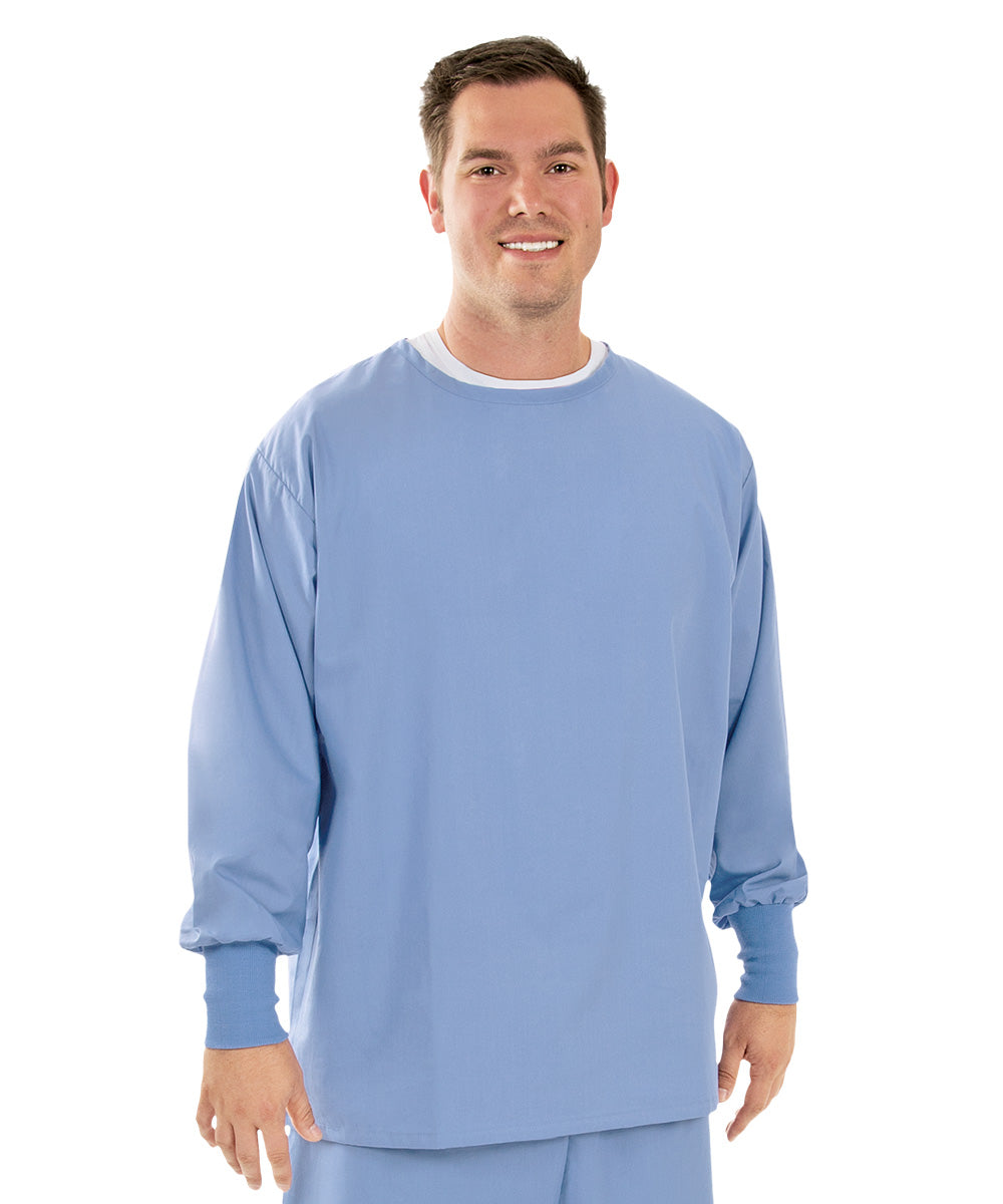 Unisex Long Sleeve Crewneck Scrub Tops (Ciel Blue) as shown in the UniFirst Uniform Rental Catalog