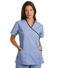 Lt.Blue/Navy Women's Cross-Over Scrubs Tunics Shown in UniFirst Uniform Rental Service Catalog