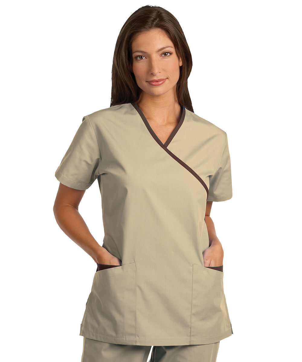 Tan/Brown Women's Cross-Over Scrubs Tunics Shown in UniFirst Uniform Rental Service Catalog