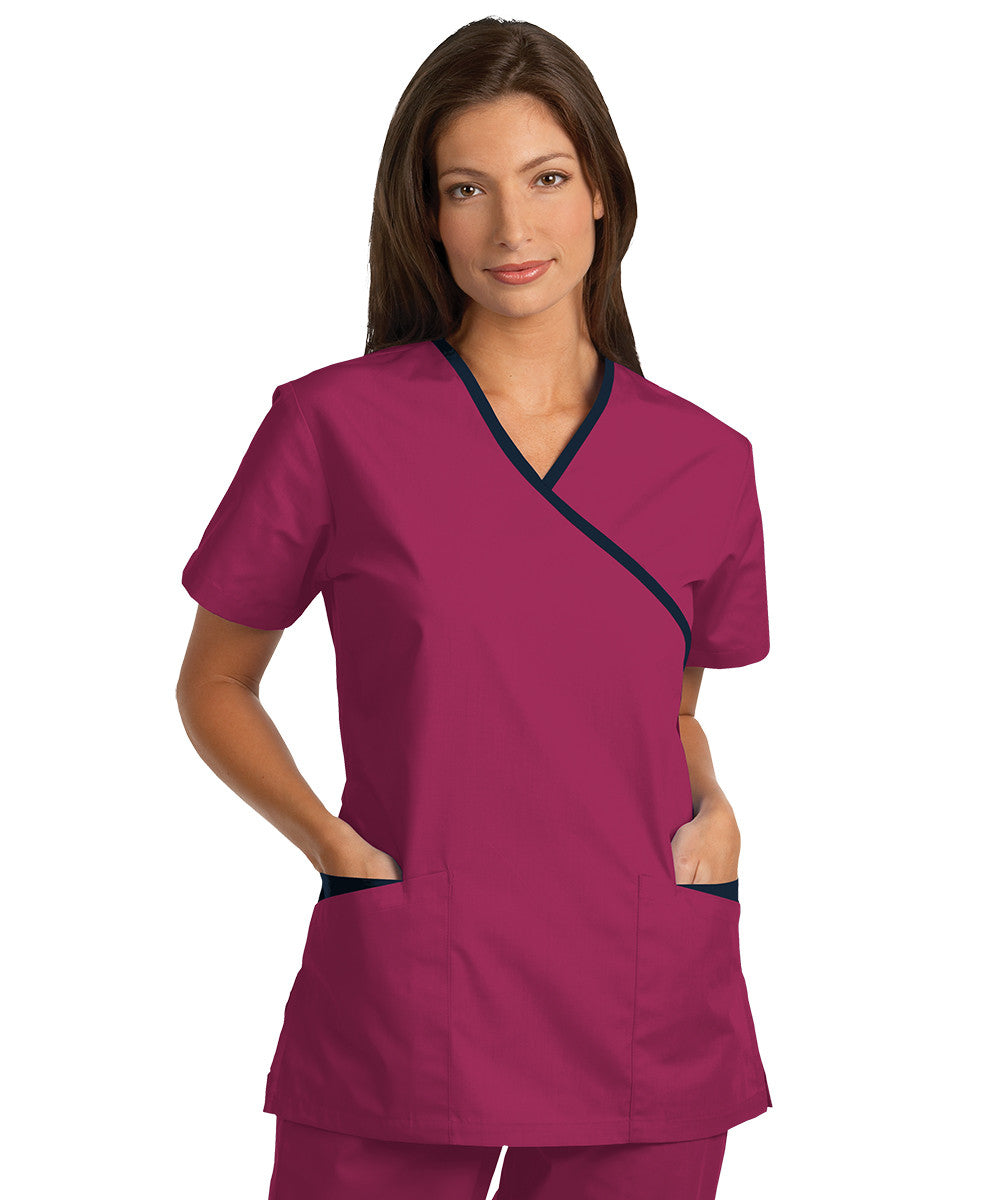 Sangria/Navy Women's Cross-Over Scrubs Tunics Shown in UniFirst Uniform Rental Service Catalog