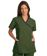 Olive/Navy Women's Cross-Over Scrubs Tunics Shown in UniFirst Uniform Rental Service Catalog