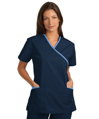 Navy/Lt.Blue Women's Cross-Over Scrubs Tunics Shown in UniFirst Uniform Rental Service Catalog
