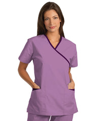 Plum/Eggplant Women's Cross-Over Scrubs Tunics Shown in UniFirst Uniform Rental Service Catalog