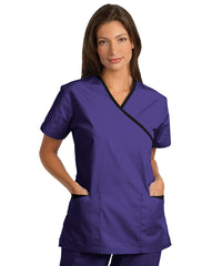 Iris/Black Women's Cross-Over Scrubs Tunics Shown in UniFirst Uniform Rental Service Catalog