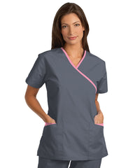 Pewter/Pink Women's Cross-Over Scrubs Tunics Shown in UniFirst Uniform Rental Service Catalog
