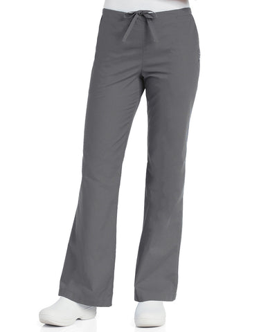 Landau Women's Flare Leg Scrub Pants in Steel Grey as shown in the UniFirst Uniform Rental Catalog