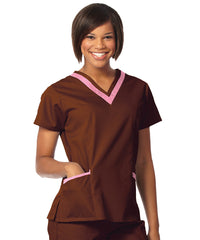 Chocolate/Pretty Pink Women's Double V-Neck Scrubs Tunics Shown in UniFirst Uniform Rental Service Catalog