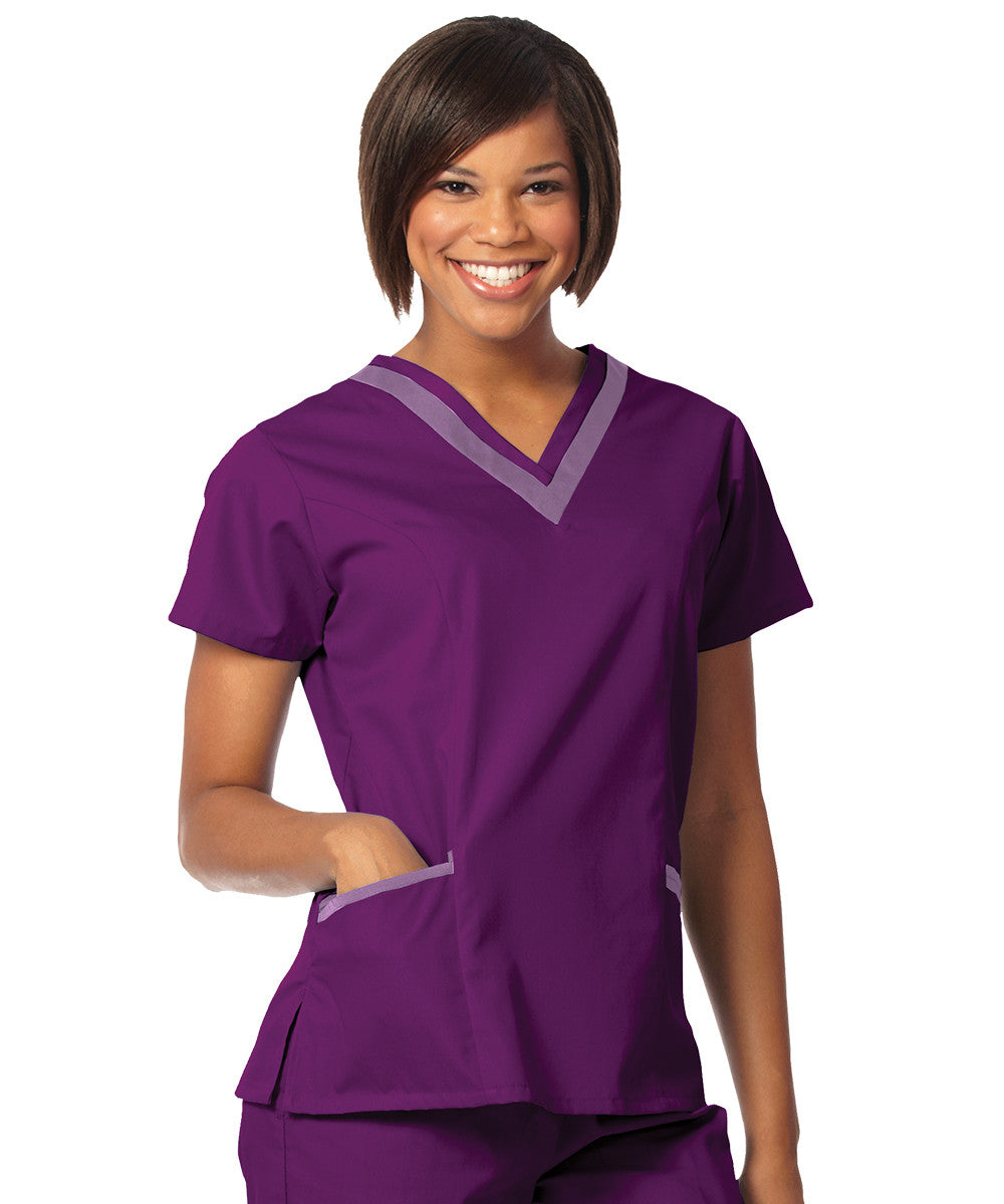 Eggplant/Plum Women's Double V-Neck Scrubs Tunics Shown in UniFirst Uniform Rental Service Catalog