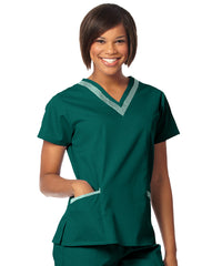 Fir Green/Sage Women's Double V-Neck Scrubs Tunics Shown in UniFirst Uniform Rental Service Catalog