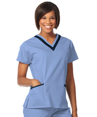 Ciel Blue/Navy Women's Double V-Neck Scrubs Tunics Shown in UniFirst Uniform Rental Service Catalog