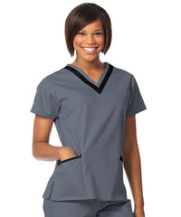 Pewter/Black Women's Double V-Neck Scrubs Tunics Shown in UniFirst Uniform Rental Service Catalog