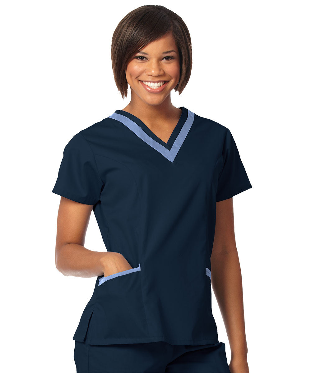 Navy/Ceil Blue Women's Double V-Neck Scrubs Tunics Shown in UniFirst Uniform Rental Service Catalog