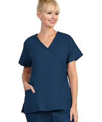 Navy Womens Mock Crossover Scrub Tops Shown in UniFirst Uniform Rental Catalog