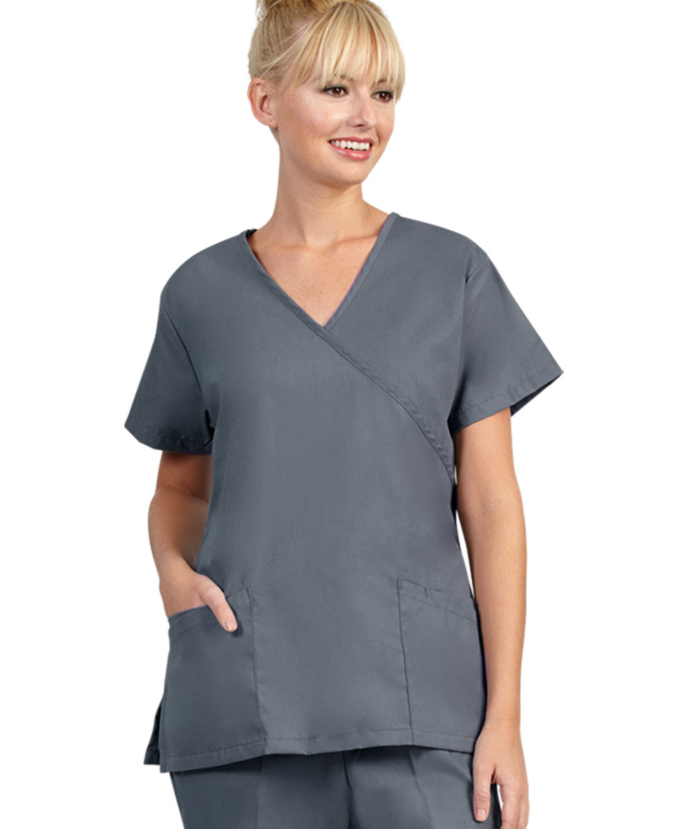 Pewter Womens Mock Crossover Scrub Tops Shown in UniFirst Uniform Rental Catalog