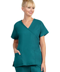 Peacock Womens Mock Crossover Scrub Tops Shown in UniFirst Uniform Rental Catalog