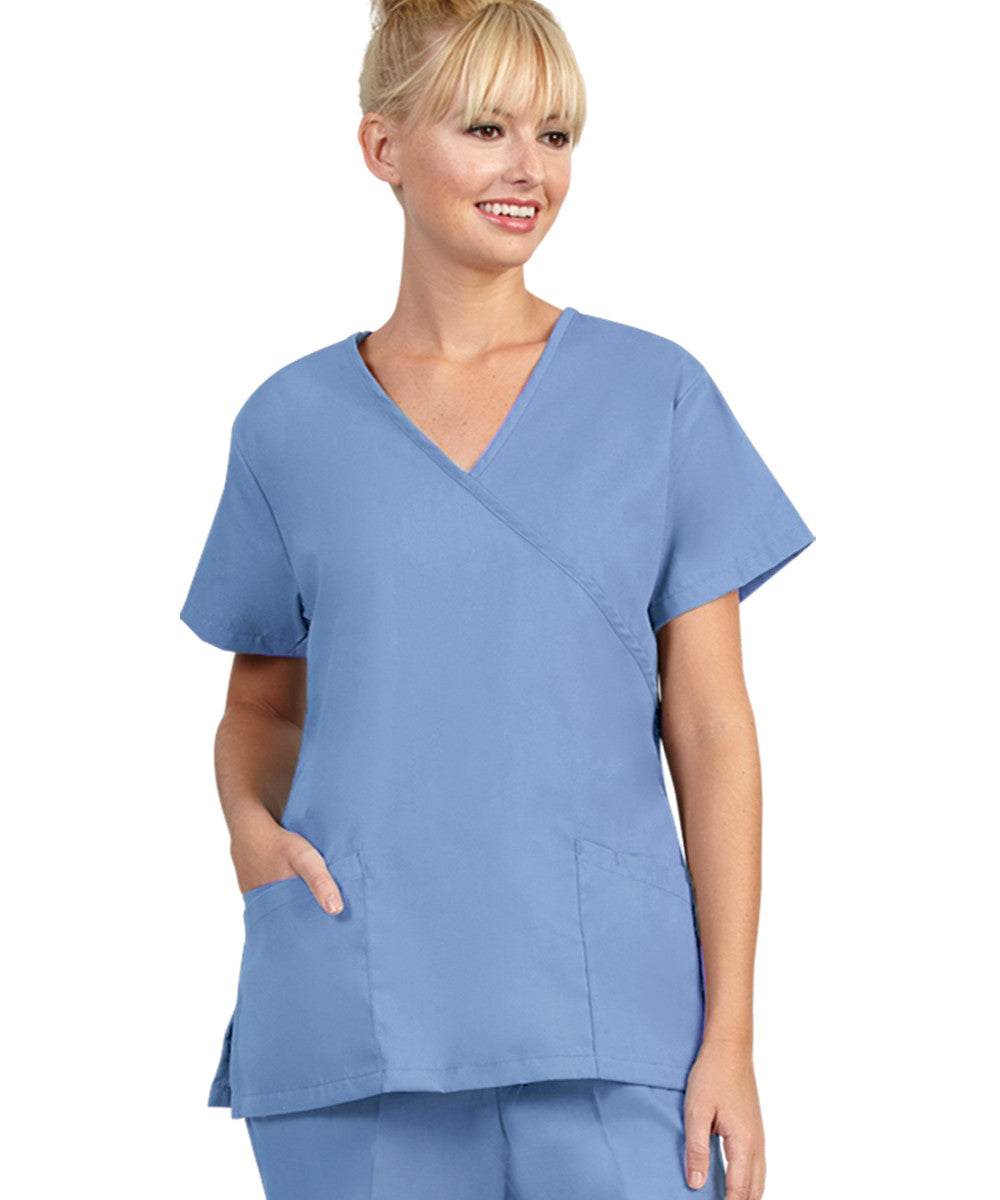 Ciel Blue Womens Mock Crossover Scrub Tops Shown in UniFirst Uniform Rental Catalog