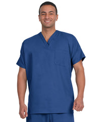 Royal Blue Unisex Short Sleeve Scrub Tops Shown in UniFirst Uniform Rental Catalog