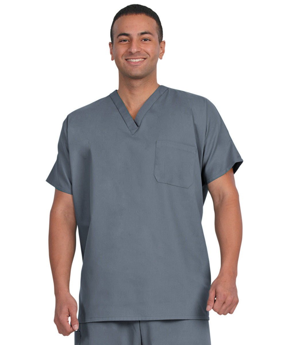 Pewter Unisex Short Sleeve Scrub Tops Shown in UniFirst Uniform Rental Catalog