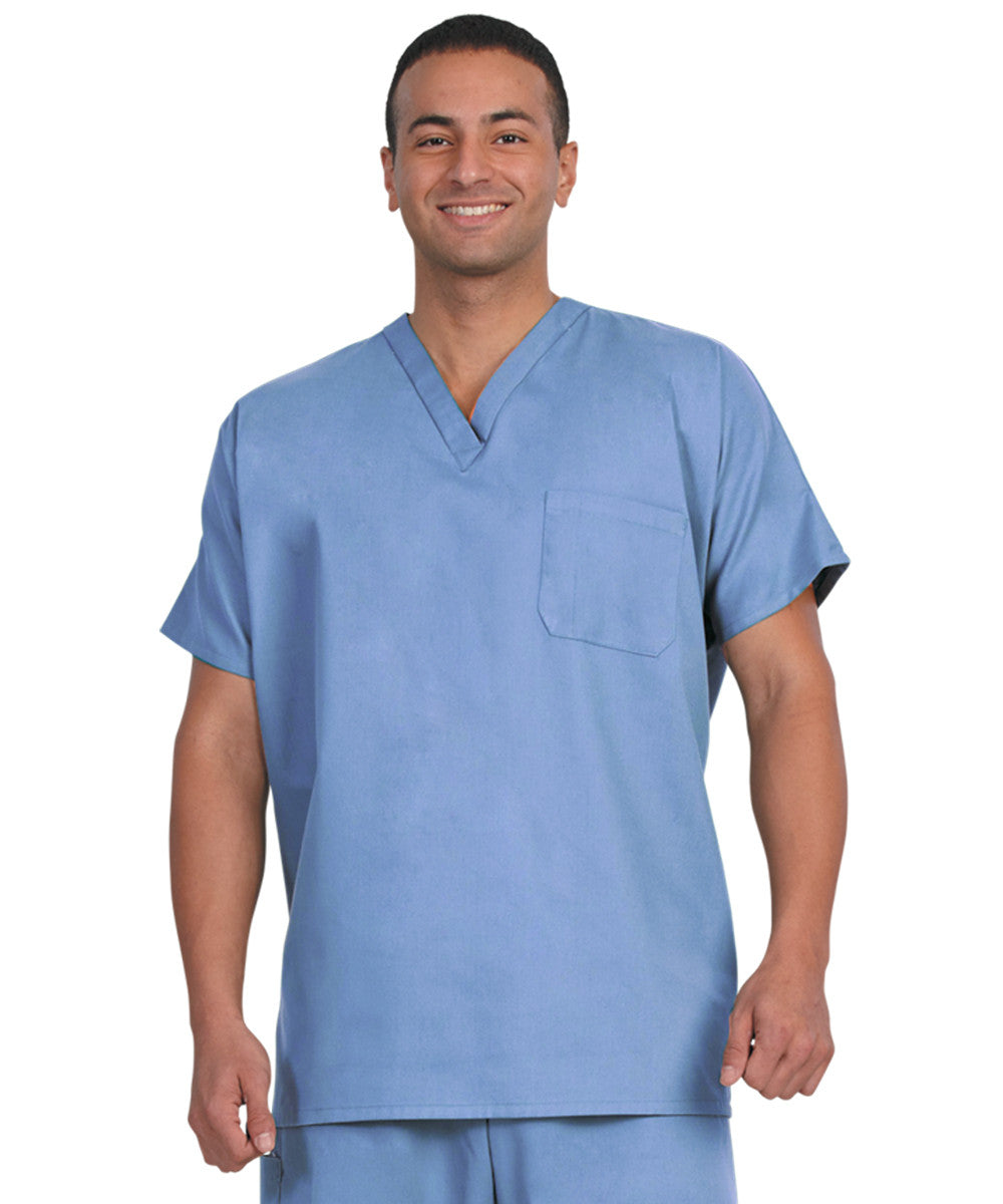 Ceil Blue Unisex Short Sleeve Scrub Tops Shown in UniFirst Uniform Rental Catalog