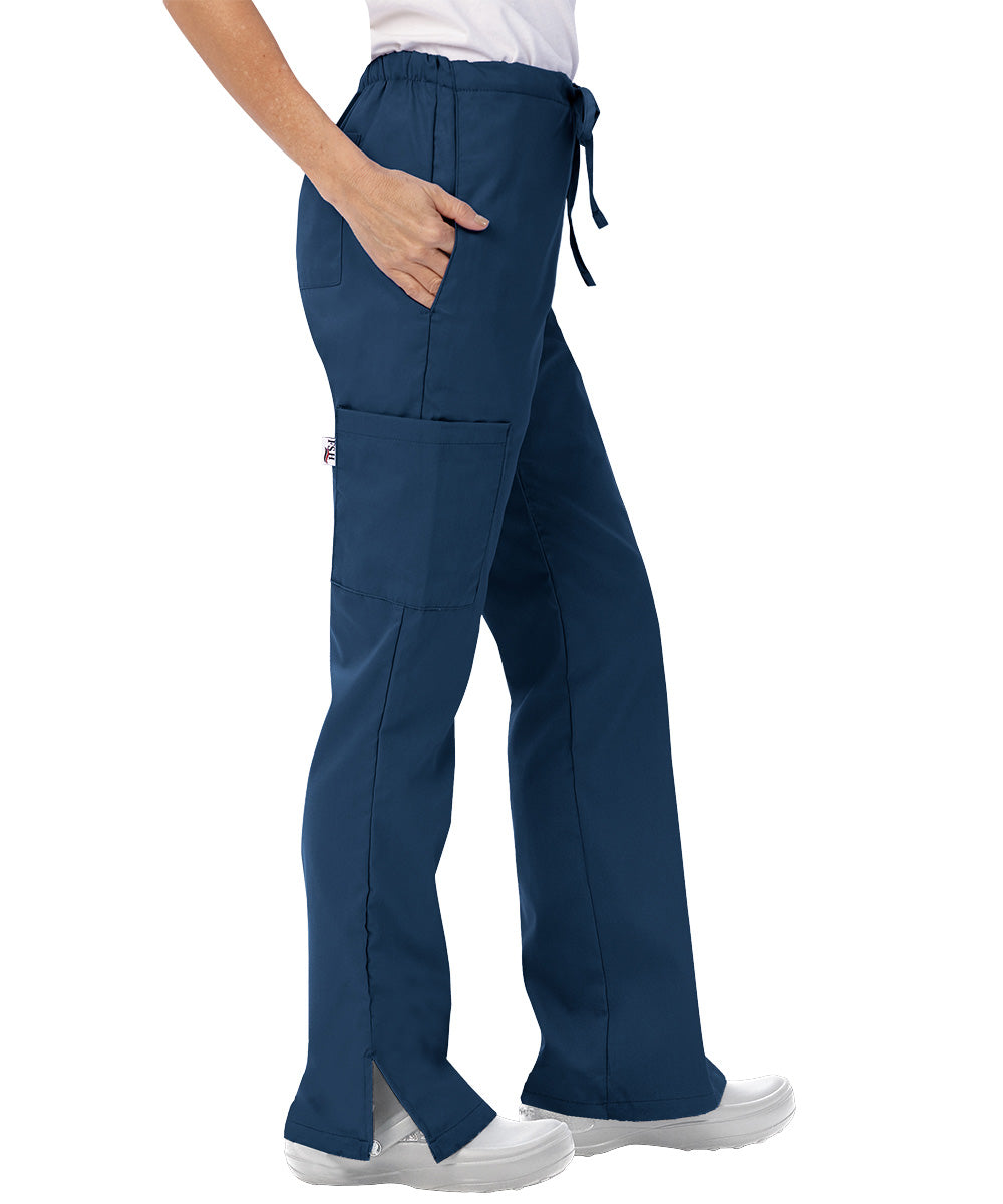 Navy Blue Womens Flare Cargo Scrub Pants Shown in UniFirst Uniform Rental Catalog