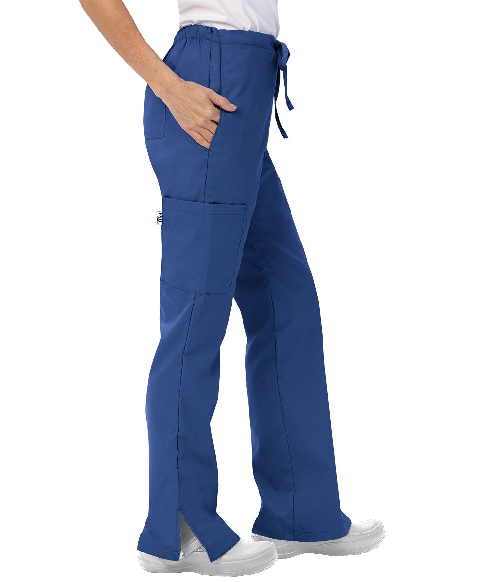 Royal Blue Womens Flare Cargo Scrub Pants Shown in UniFirst Uniform Rental Catalog