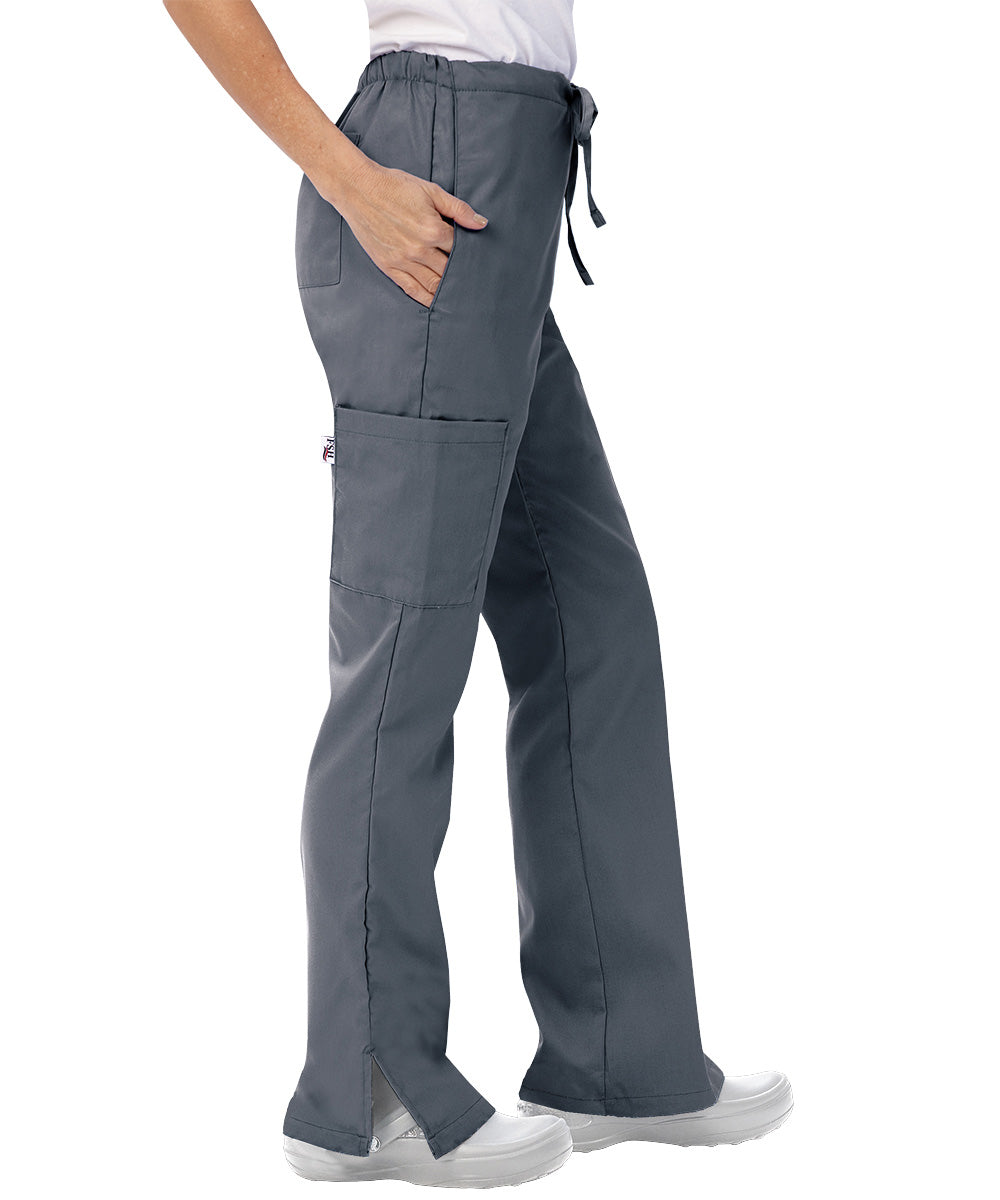 Pewter Womens Flare Cargo Scrub Pants Shown in UniFirst Uniform Rental Catalog