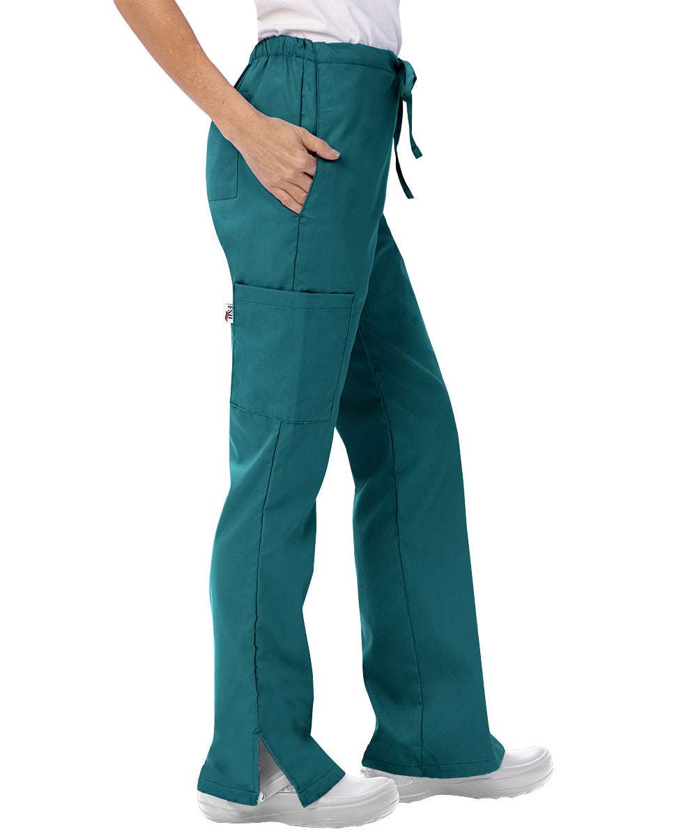 Peacock Womens Flare Cargo Scrub Pants Shown in UniFirst Uniform Rental Catalog