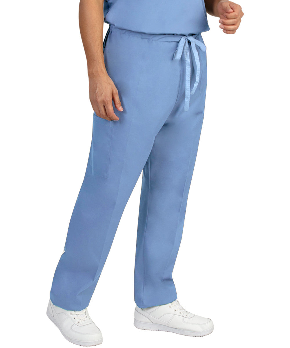 Light Blue Unisex Cargo Scrub Pants Shown in UniFirst Uniform Rental Catalog