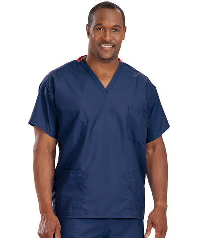 Navy Blue Unisex Reversible Scrub Tops Shown in UniFirst Uniform Rental Service Catalog