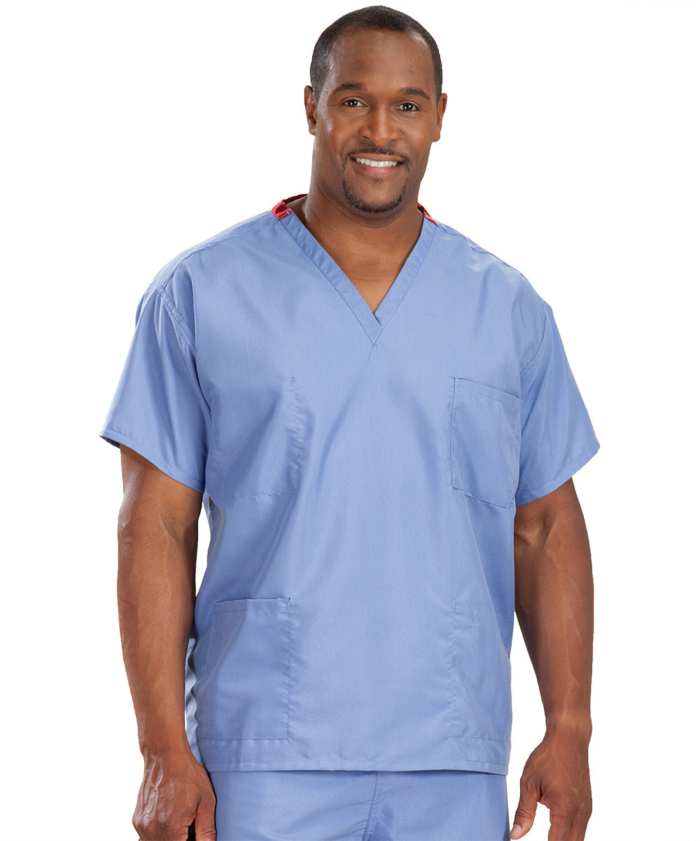 Ciel Blue Unisex Reversible Scrub Tops Shown in UniFirst Uniform Rental Service Catalog