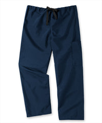 Navy Blue Unisex Cargo Scrub Pants with Tie Waist Shown in UniFirst Uniform Rental Service Catalog