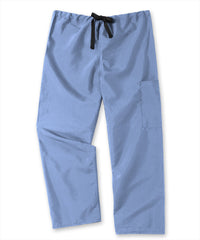 Ciel Blue Unisex Cargo Scrub Pants with Tie Waist Shown in UniFirst Uniform Rental Service Catalog