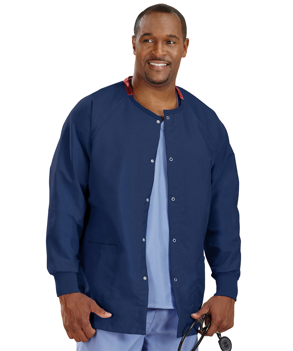Navy Blue Unisex Warm Up Scrub Jacket Shown in UniFirst Uniform Rental Service Catalog
