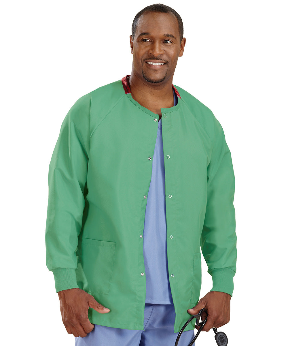 Jade Unisex Warm Up Scrub Jacket Shown in UniFirst Uniform Rental Service Catalog