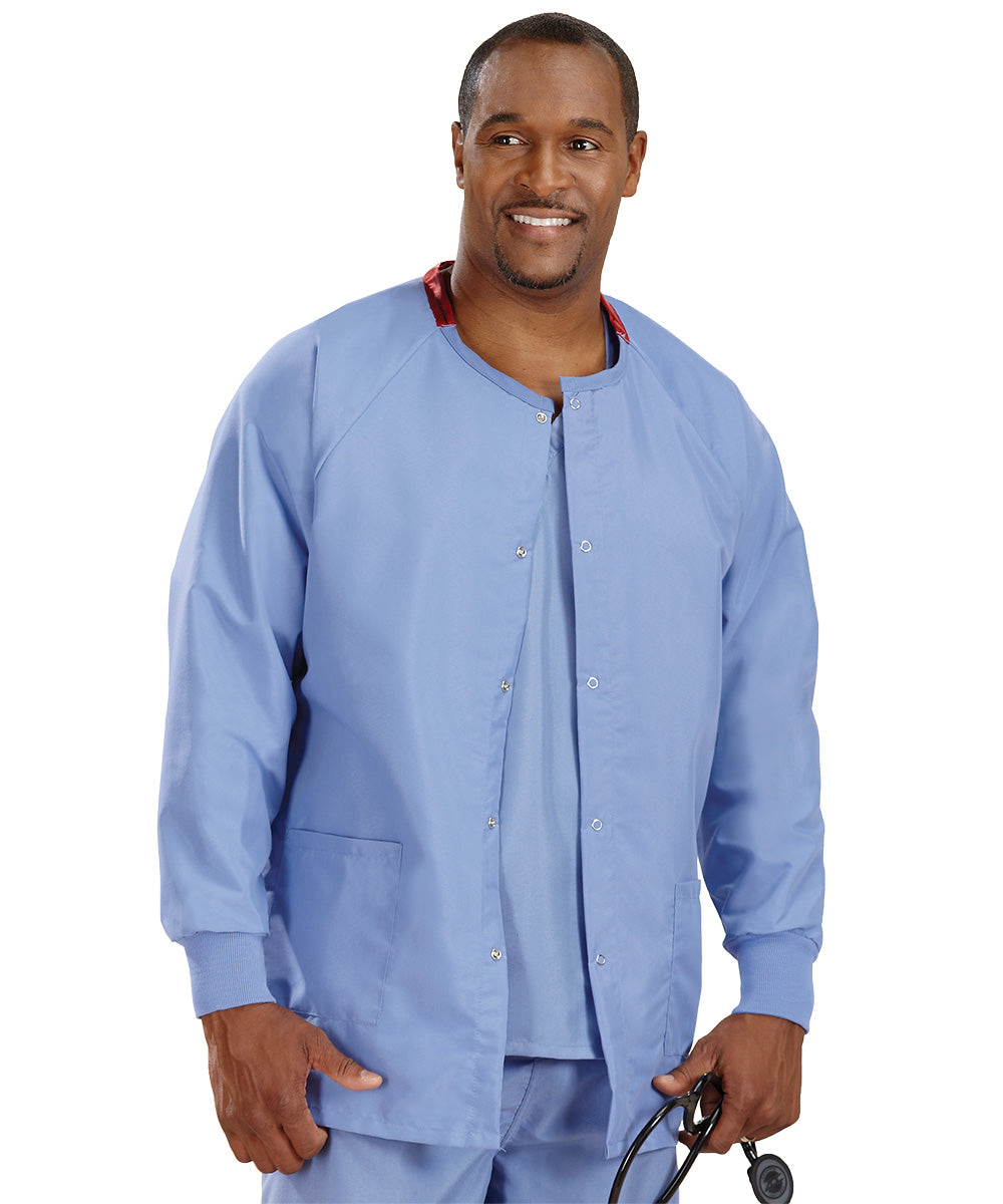 Ciel Blue Unisex Warm Up Scrub Jacket Shown in UniFirst Uniform Rental Service Catalog