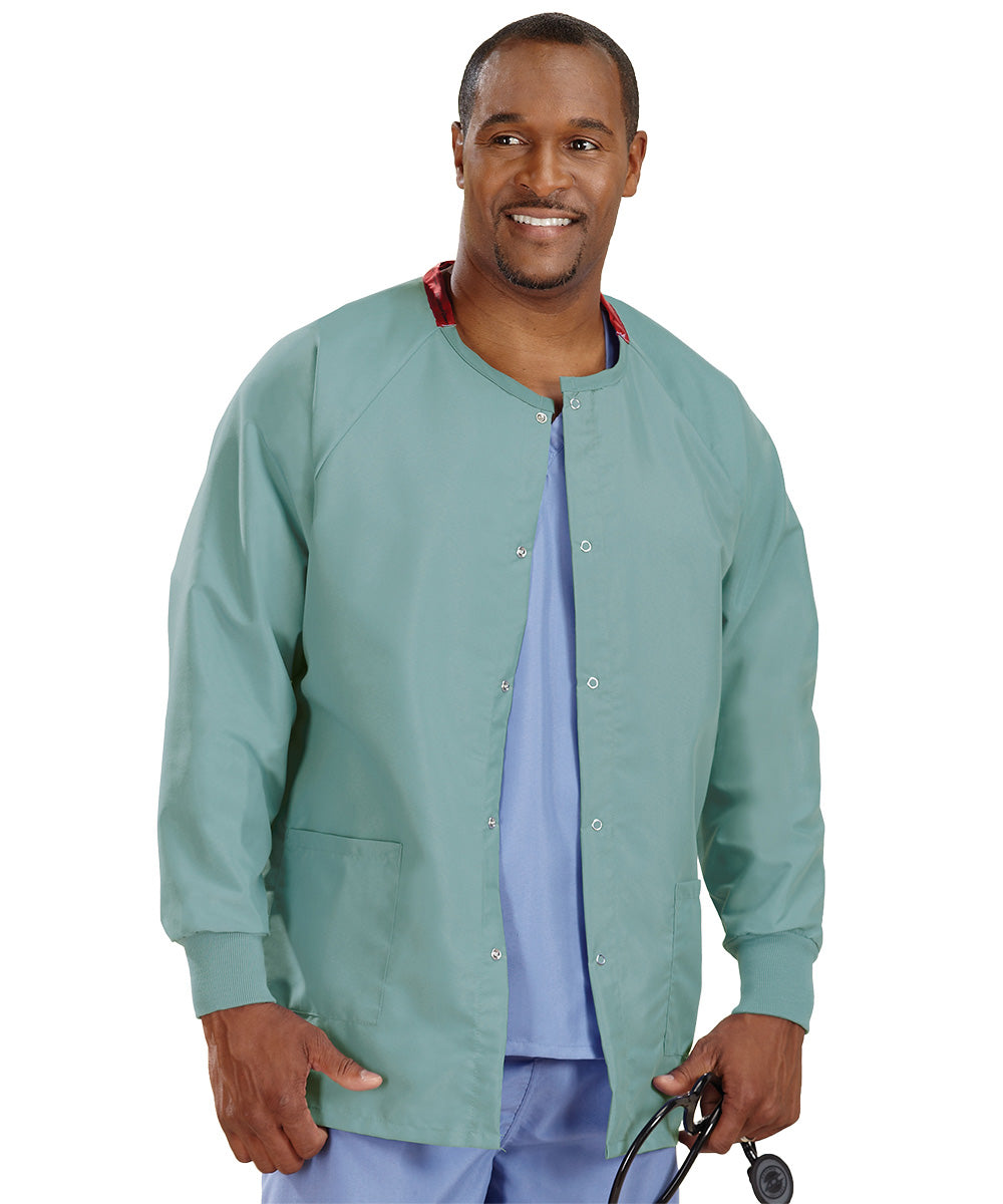 Misty Unisex Warm Up Scrub Jacket Shown in UniFirst Uniform Rental Service Catalog